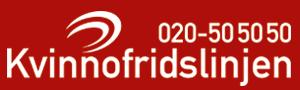 Kvinnofridslinjens logotyp på röd bakgrund